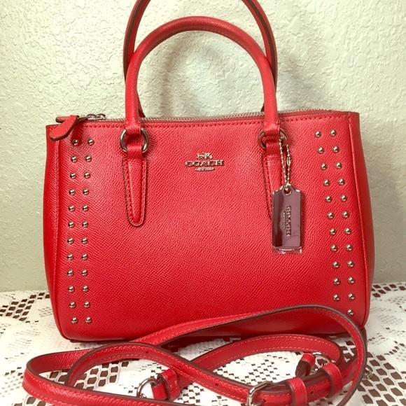 Coach Handbags - NWT Coach Border Rivets Leather Mini Surrey Bag
